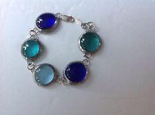 Vtg. Blue/Aqua BIG Crystalline POURED/PATE DE VERRE Glass Bracelet 925 Clasp