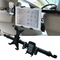 Black Car Seat Back Rear Pillow Holder 360° Rotating Stands For Phone Tablet