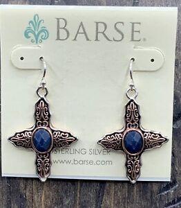 Barse Cairo Earrings - Navy Quartz- Mixed Metals- NWT