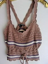 Women's size Large New With Tags Cropped Crochet Hippie Boho Indie Festival Tank