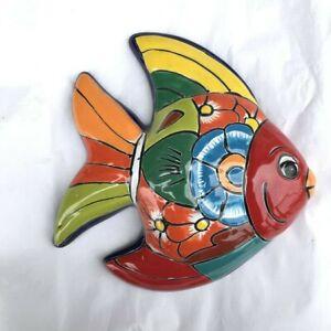F3 FISH TALAVERA MEXICAN POTTERY CRAB SCULPTURE WALL DECORATIVE HAND CRAFT SEA