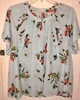Ophelia Roe Women's Smocked Top Blue Orange Floral Lace Tunic Blouse 2x