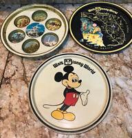 Vintage 1970's 3 Walt Disney World Florida Tin Tray Mickey Mouse  Castle Cup