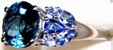 LONDON BLUE TOPAZ ROUND & TANZANITE MARQUISE RING, 925 SILVER, SIZE 9, 5.83(TCW)