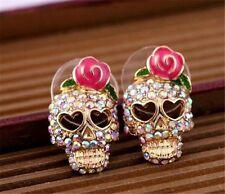 Women Set Auger Rhinestone Gold Plated Skeleton Skull Ear Studs Earrings Gift