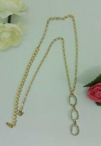 "ETTIKA pave gold-tone lariat Y necklace 16""- New"