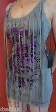 NWT Ed Hardy Flower Dragon Print Knit Tank Dress in Gray Size M