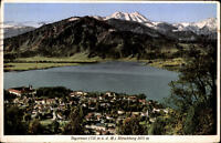 Tegernsee Bayern AK Postkarte 1934 Gesamtansicht Blick auf See und Hirschberg