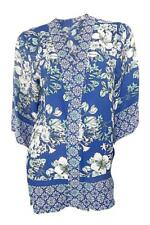 Marks & Spencer Oriental Patterned Mid Blue Kimono 3/4 length Sleeves Size 8