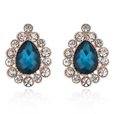 Gorgeous Rose Gold Plated Blue White Crystal Clip-On  Clip On Statement Earrings