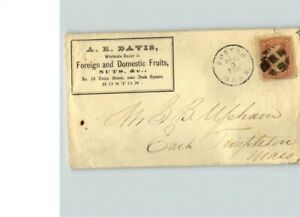 BOSTON, Massachusetts cancel with Fancy Geometric cancel, A.R. Davis, Foreign &