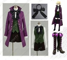 Anime Black Butler II 2 Alois Trancy Purple Uniform Cosplay Costume With Shoes