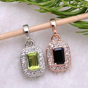 Halloween Natural Gemstone Octagon Pendant 925 Sterling Silver Necklace Jewelry