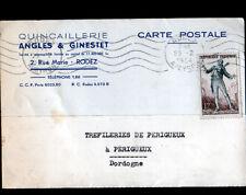 "RODEZ (12) QUINCAILLERIE ""ANGLES & GINESTET"" Carte d'Entreprise en 1954"