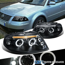 For 2001-2005 VW Passat B5 Black LED Halo Projector Headlights Front Lamps Pair