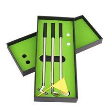 3pcs Metal Golf Club Style Ballpoint Pens 2 Golf Balls Flag Putter Kit Set Gift