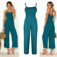 Womens Casual Knitting Sleeveless Pants Suspenders Rompers One-Piece Jumpsuits