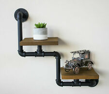 Industrial Pipe & Wooden Wall Shelf Hanging Mounted Shelves Rustic Display Unuit
