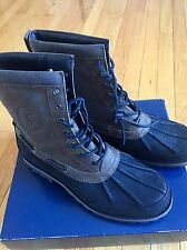 Ralph Lauren Polo Leather Suede Boots, Size 9,5, Black/brown Military Style