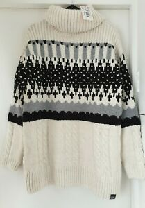 New Superdry Cream Chunky Roll Neck Jumper - Size 6/8