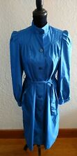 New Women's Vintage J. Gallery Blue Pleated Trench Coat Jacket Button Belt 8 9
