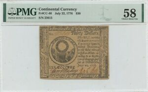 July 22 $30 Continental Currency 1776 CC-46 PMG 58