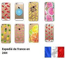 Coque Gel silicone souple Iphone 4-5c-5-6-7-8 - X et XS fruits ananas, banane