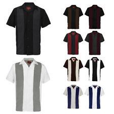 Dbfl masculina manga curta em dois tons botão Casual Camisa Retrô De Boliche