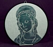 Vintage Hanging  Madonna/Virgin Mary Etched on Stone Religious Italy Collectible