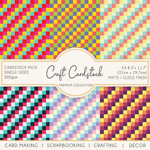 Mulitcolour Tile Patterned Arts & Crafts Card Making Journaling 300gsm Cardstock