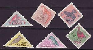 Liberia # 341-46 MNH Complete 1953 Triangle Fauna Bird CV $10!.