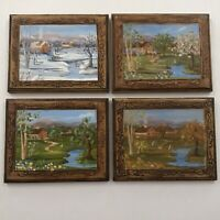 Oil Painting on Wood Countryside Cottage Home 4 Seasons Set of 4