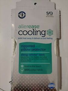 Allerease Standard/ Queen Size Zippered Allergy Defense Cooling Pillow Protector