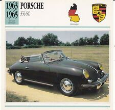 PORSCHE 356 SC - ALLEMAGNE 1963/65 - CARTE FICHE COLLECTOR VOITURE OLDTIMER