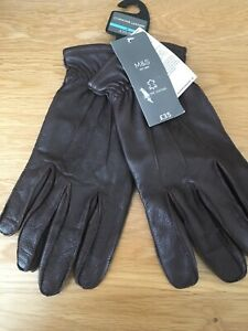 MARKS & SPENCER MENS GENUINE LEATHER BROWN GLOVES, Size M, Bnwt