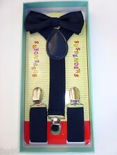 New Baby Toddler Kids Child Navy Blue Suspenders Bow Tie Gift Box Set USA SELLER
