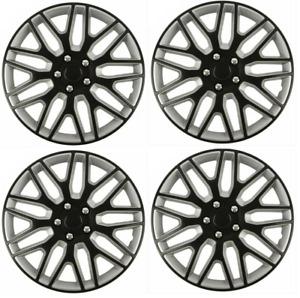 "Wheel Trims 15"" Hub Caps Plastic Covers Set of 4 Black Silver Fit R15 Tyes"
