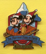 Disney Mickey & Minnie on Sled Pin DLR The Merriest Place On Earth 2000 LE 1800