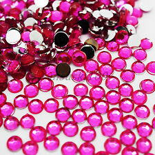 1000 Hot Pink Rhinestones Silver Flat Back Acrylic Crystal Gems Nail Art Crafts