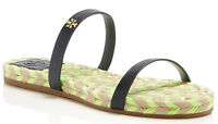 NIB TORY BURCH Two Band Espadrille Flat Sandals Size US 9 Gold Logo/Navy Leather