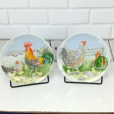 Vintage Rooster Hen Chicken Chicks Decorative 2 Plates Farmhouse Country 7.75 In