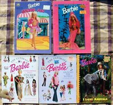 5 1990s Barbie Sticker Fun Books~Mermaid*Internation al Lot Golden Books~New