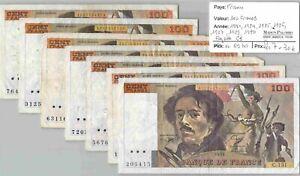 LOT 7 BILLETS FRANCE - 100 francs - 1981/1984/1985/1986/1987/1989/1990
