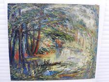 """SOURDILLON Berthe (1895-1976) """"Étang en sous bois"""" Grande et belle HuileS/T 1950"""