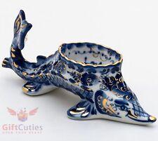 "Gzhel Porcelain Caviar server bowl holder fish ""Sturgeon"" Acipenser Hand painted"
