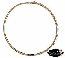 """New 18"""" 4mm Gold Plated Omega Choker Necklace (CO4)"""