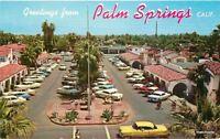 1950s Palm Springs California Shopping Plaza Teich Desert autos postcard 10320