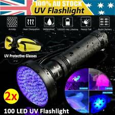 100 LED UV Ultra Violet Blacklight Flashlight Lamp Torch 395nm w/ Pair Goggles 2