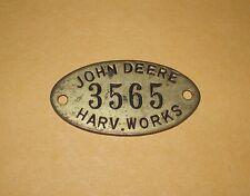 John Deere Harvester Works Equipment Tool Tag Badge #3565