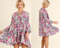 Umgee Grey Floral Mix 3/4 Bell Sleeve Keyhole Trapeze Dress Small
